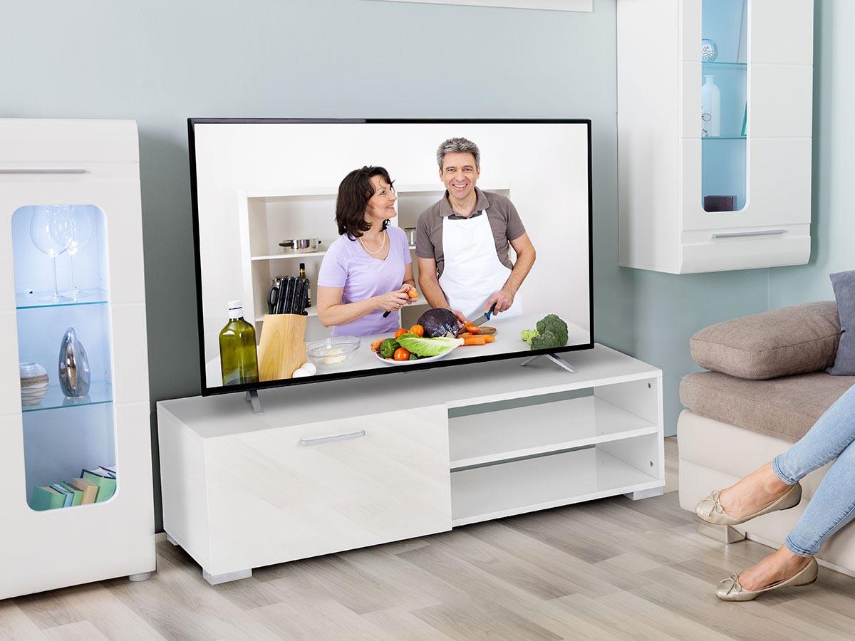 Meuble TV Viola - 130 x 40 x 35,5 cm - Blanc