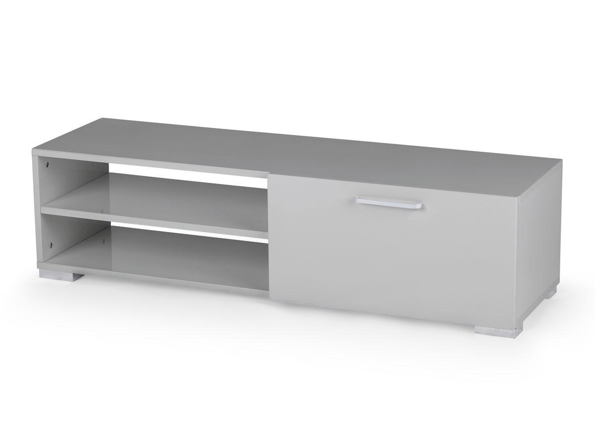 Meuble TV Viola en MDF laqué gris - 2 niches et 1 porte