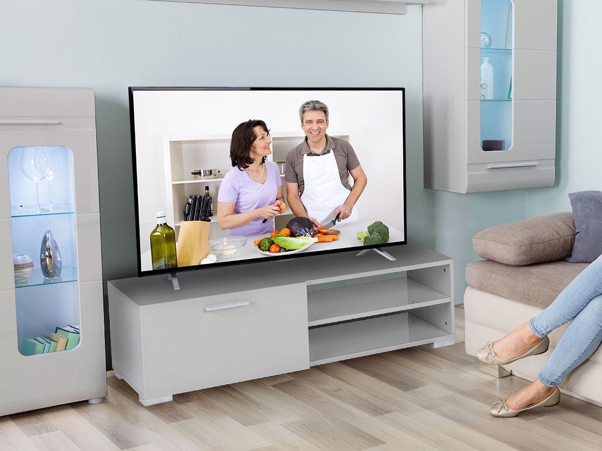 Meuble TV Viola - 130 x 40 x 35,5 cm - Gris