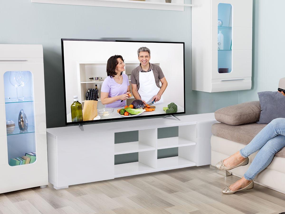 Meuble TV Alicia - 185 x 30 x 42,5 cm - Blanc laqué
