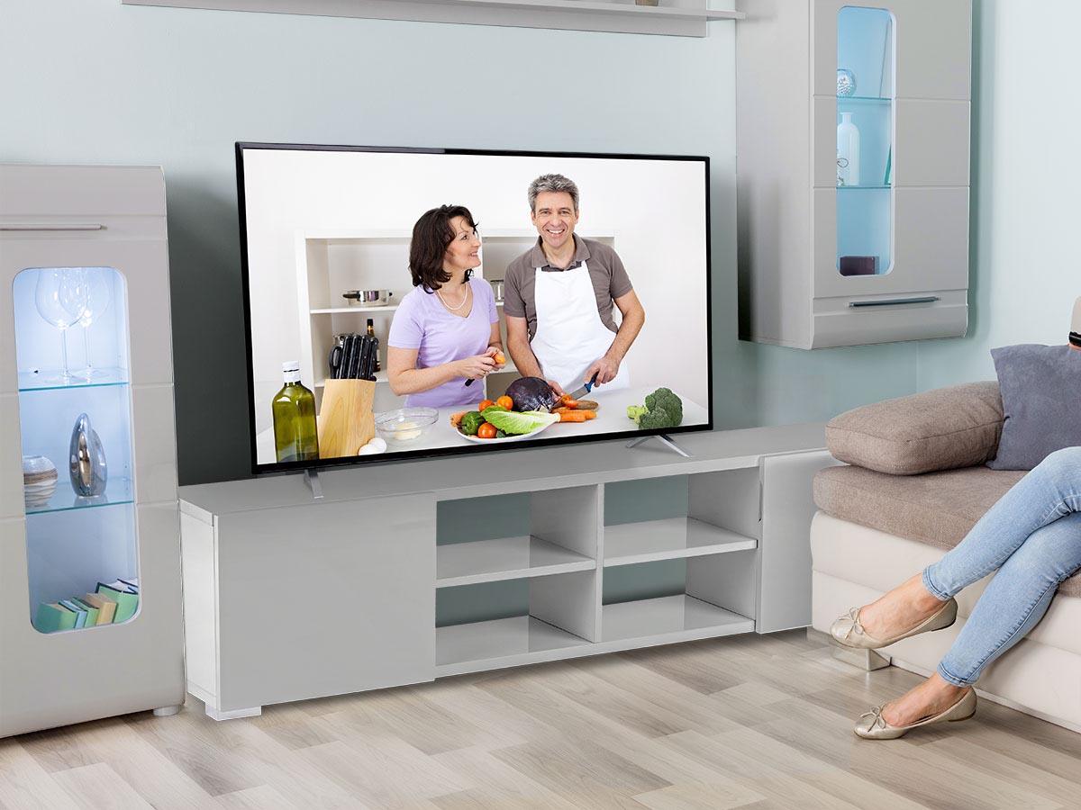 Meuble TV Alicia - 185 x 30 x 42,5 cm - Gris laqué