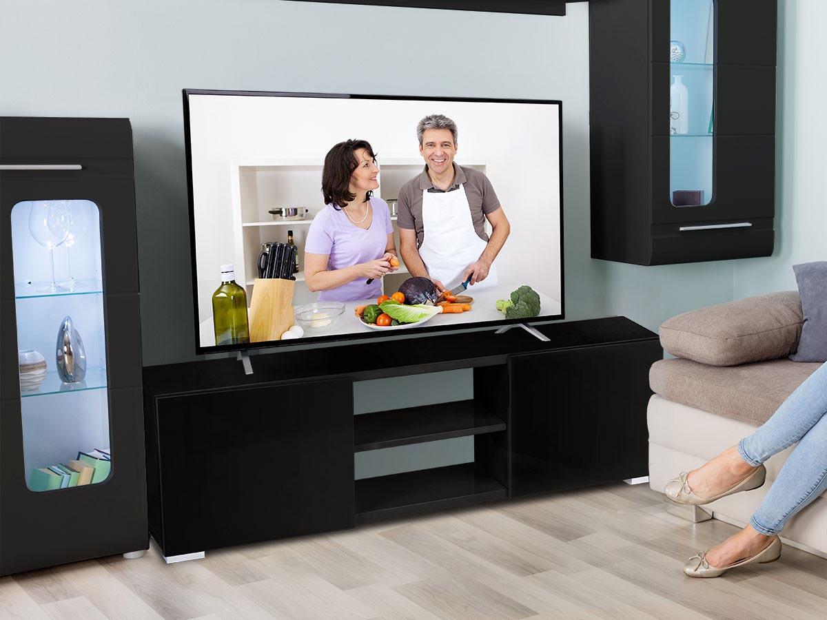Meuble TV Frida - 155 x 31 x 42,5 cm - Noir