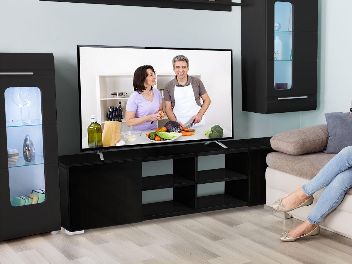 Meuble TV Alicia - 185 x 30 x 42,5 cm - Noir laqué