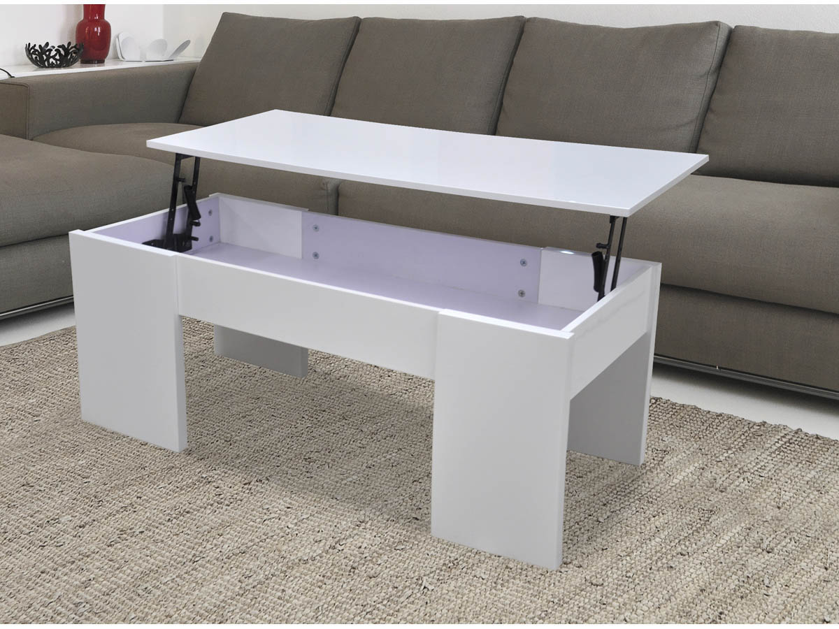 Table basse maria 100 x 50 x 43 55 5 cm blanc 68024 68031 - Table basse avec tablette relevable ...