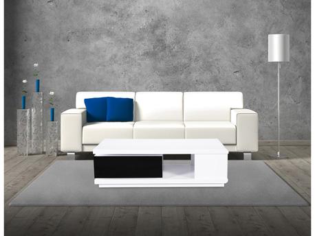 """Table basse rectangulaire """"Mila"""" en MDF laqué - Blanc et noir"""