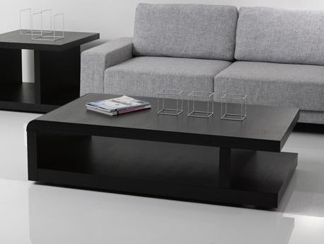 """Table basse rectangulaire """"Lisa"""" en Mdf laqué chêne noir"""