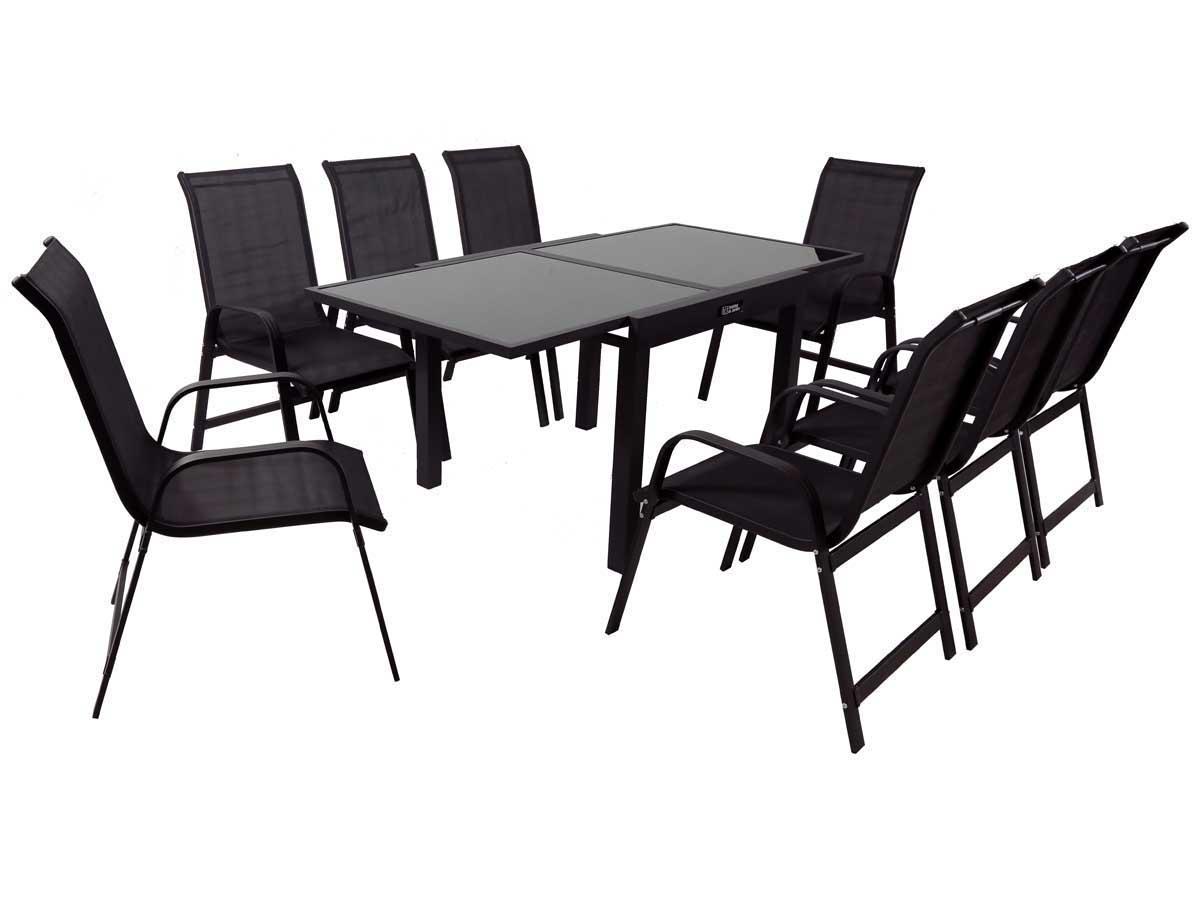 Salon de Jardin extensible 90/180 Porto 8 - Phoenix - Noir - 1 Table + 8 Fauteuils