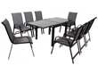 """Salon de Jardin extensible luxe 90/180 """"Porto 8"""" - Phoenix - Noir/Gris foncé - 1 Table 90/180 + 8 Fauteuils"""