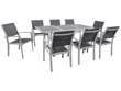 """Salon de Jardin extensible 120/180 """"Tropic 8"""" - Phoenix - Argent/Gris foncé - 1 Table + 8 Fauteuils"""