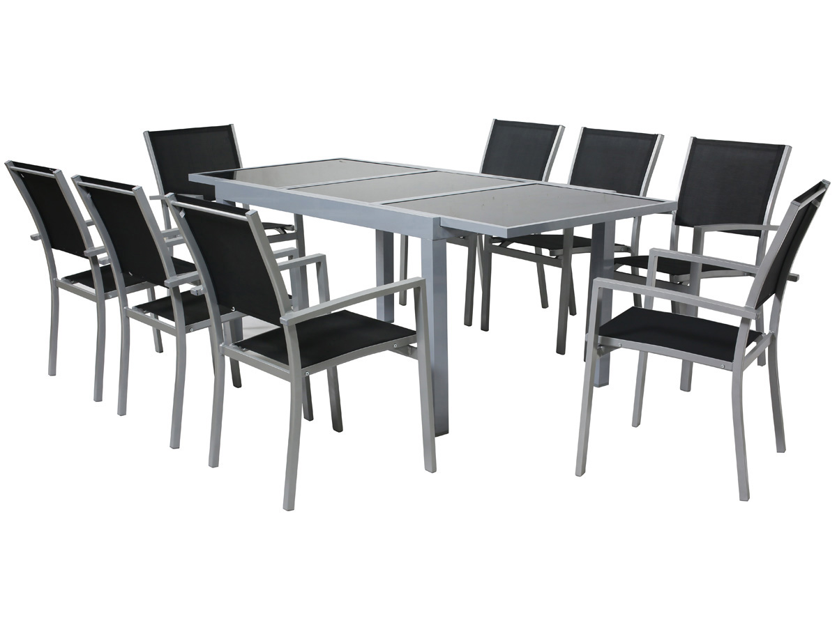 Salon de jardin repas alu extensible 140 200 brazil for Salon de jardin metal