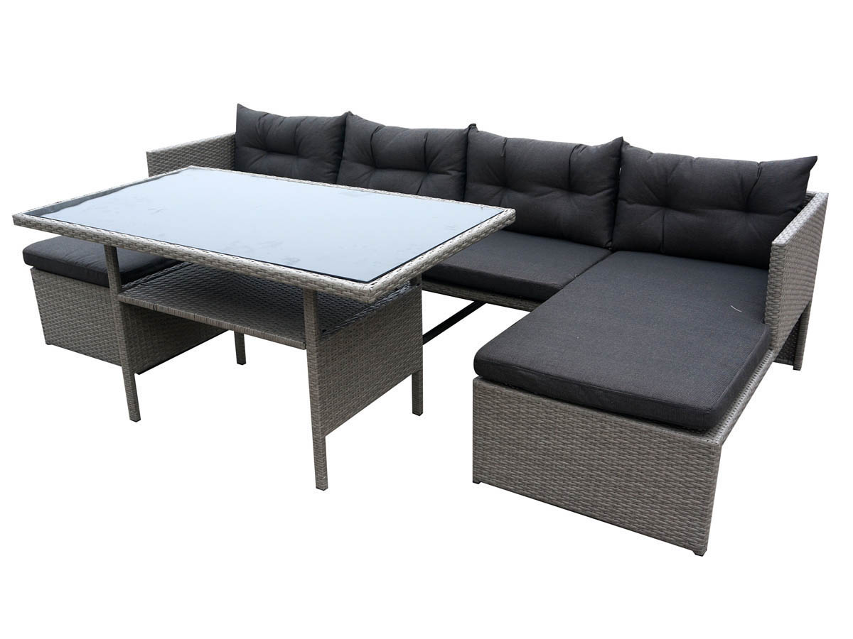 Salon de jardin r sine tress e tropic florida gris 68369 - Table salon de jardin resine tressee ...