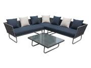 Salon de jardin en résine tressée Denver -  Florida  - Gris - 1 canapé d'angle + 1 table basse
