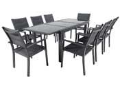 """Salon de Jardin extensible 140/200 """"Brazil 8"""" - Phoenix - Noir - 1 Table + 8 Fauteuils"""
