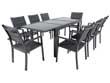 "Salon de jardin ""Brazil 8"" - Phoenix - Noir - 1 Table + 8 Fauteuils"