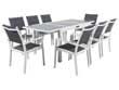 """Salon de Jardin extensible 140/200 """"Brazil 8"""" - Phoenix - Blanc/Gris foncé - 1 Table + 8 Fauteuils"""
