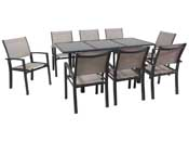 "Salon de Jardin extensible 120/180 ""Tropic 8"" - Phoenix - Anthracite/Taupe- 1 Table + 8 Fauteuils"