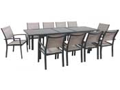 "Salon de Jardin extensible 200/260 ""Tropic 10"" - Phoenix - Anthracite/Taupe- 1 Table + 10 Fauteuils"