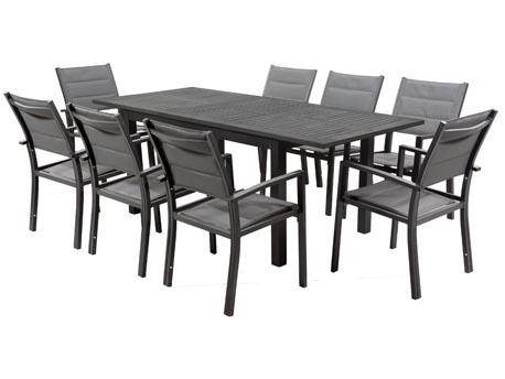 """Salon de Jardin extensible 150/210 """"Canaries 8"""" - Phoenix - Noir/Gris foncé - 1 Table + 8 Fauteuils"""