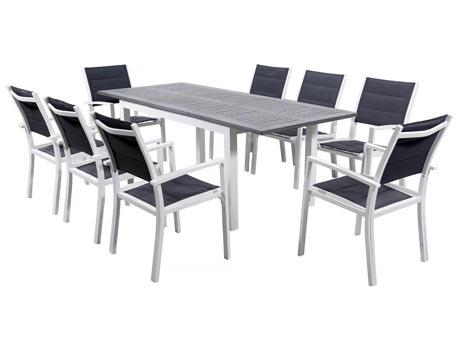"""Salon de Jardin extensible 150/210 """"Canaries 8"""" - Phoenix - Blanc/Gris foncé - 1 Table + 8 Fauteuils"""