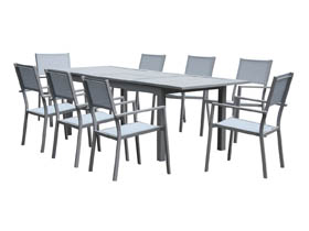 Salon de jardin en bois composite feroe dallas gris 68381 - Salon de jardin aluminium et bois composite ...