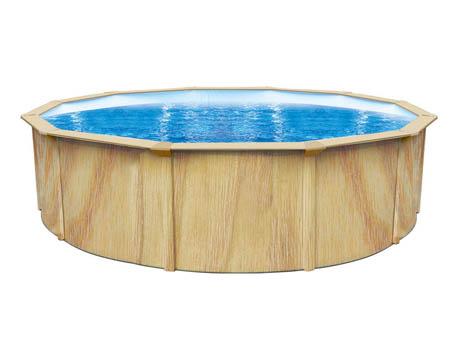 """Piscine acier ronde aspect bois """"Punta cana"""" - Ø 3.6 x 1.20 m"""