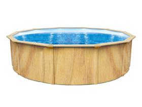 Piscine acier ronde aspect bois - Ø 5.50 x 1.20 m