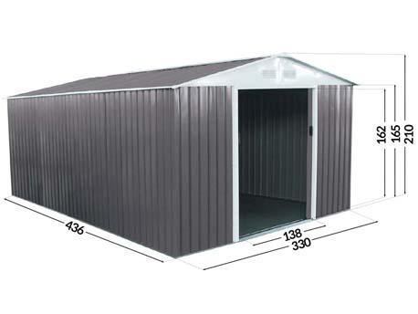 """Abri de jardin métal """"Dallas"""" - 15,16 m²"""