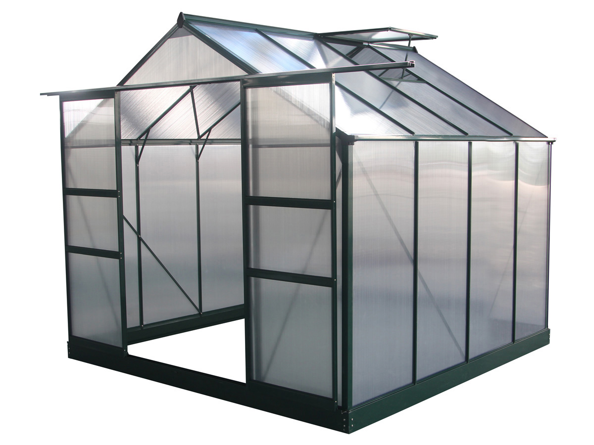 Serre jardin polycarbonate dahlia vert sapin 6 15 m 69181 78623 - Montage serre polycarbonate ...