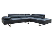 Canapé d'angle têtières relevables aspect cuir 5 places  Sophia  - Noir