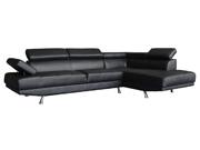 Canapé d'angle 5 places Noir  Sophia