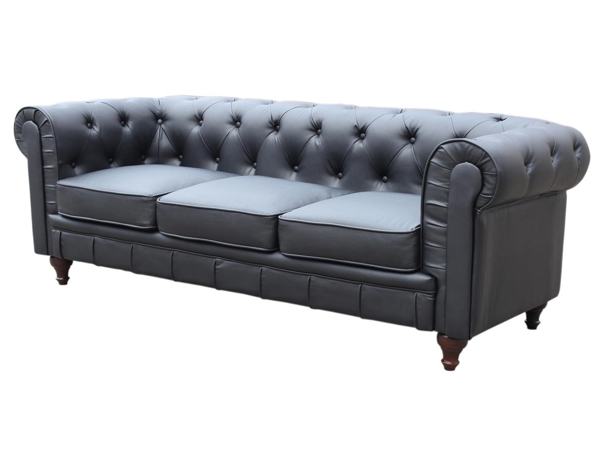 Canap chesterfield aspect cuir aliza noir 3 places for Canape chesterfield cuir noir