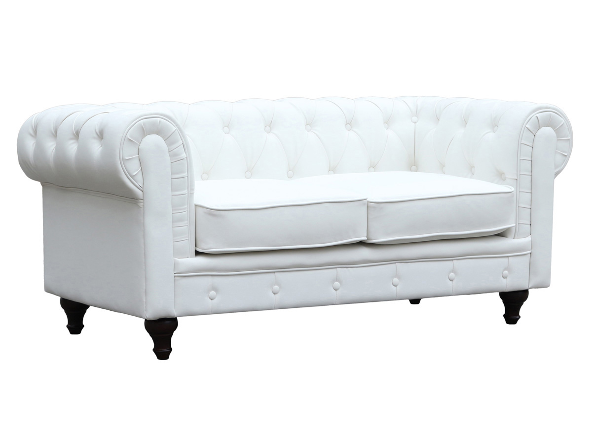 Canape fixe chesterfield aliza 2 places blanc 80458 80460 for Canape chesterfield