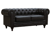 "Canapé fixe Chesterfield ""Aliza""- 2 places - Marron"