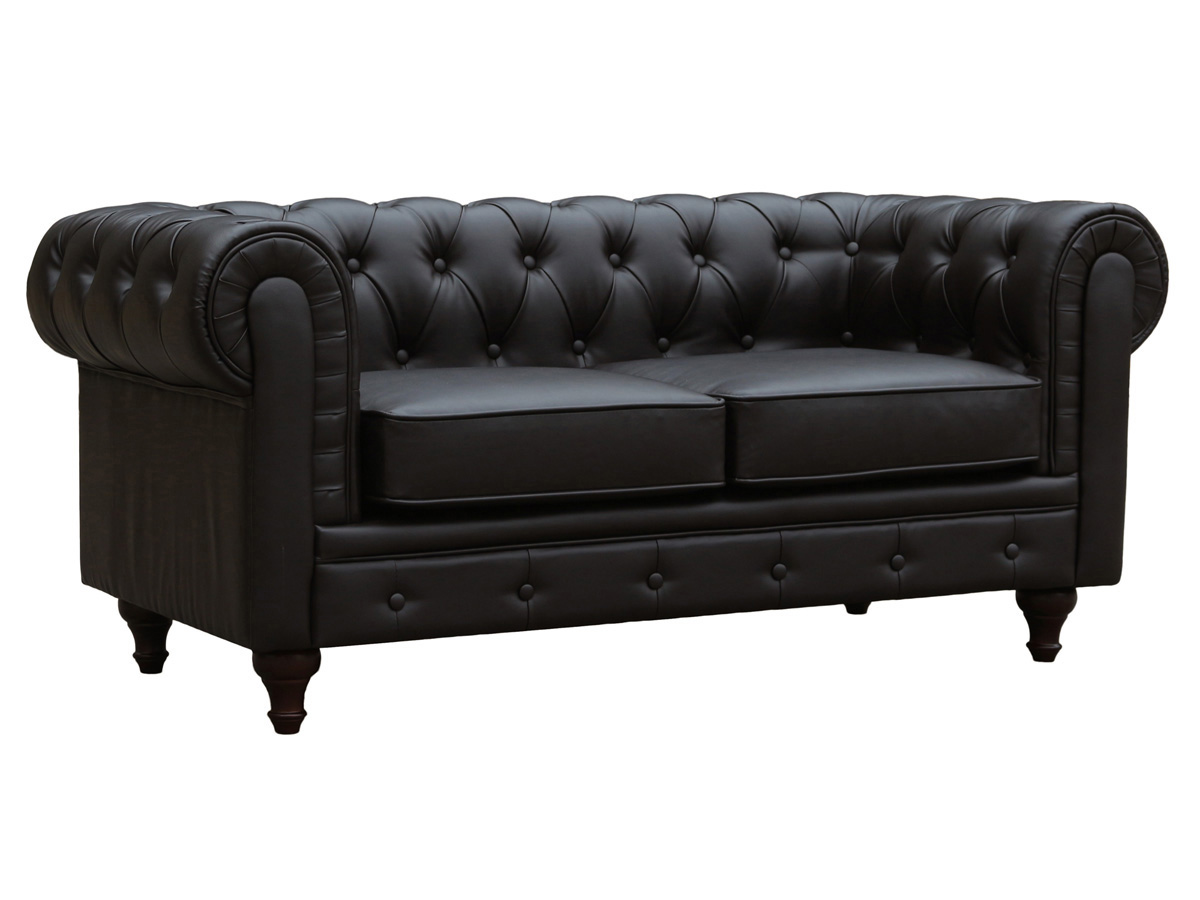 Canapé fixe Chesterfield Aliza- 2 places - Marron