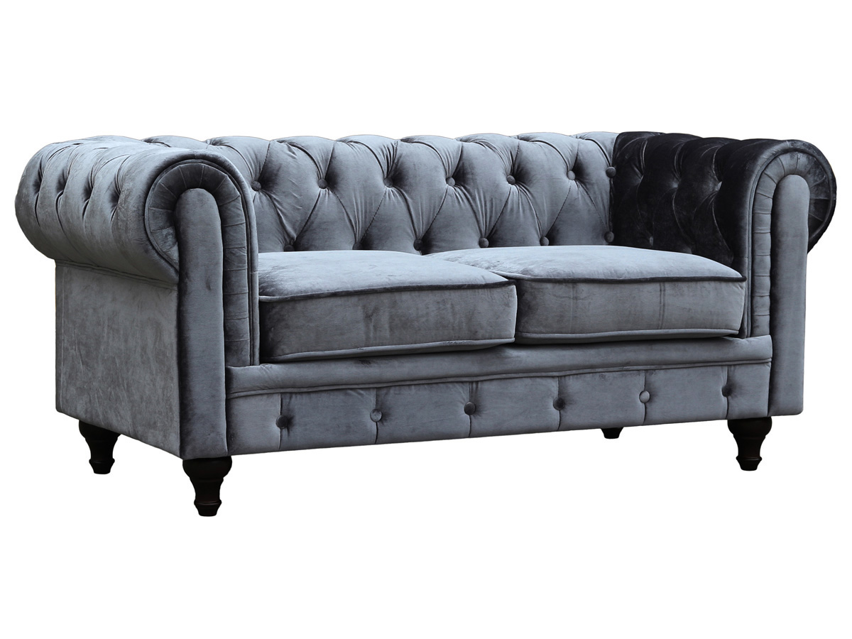 Canap fixe chesterfield velours aliza 2 places gris - Canape chesterfield tissu gris ...