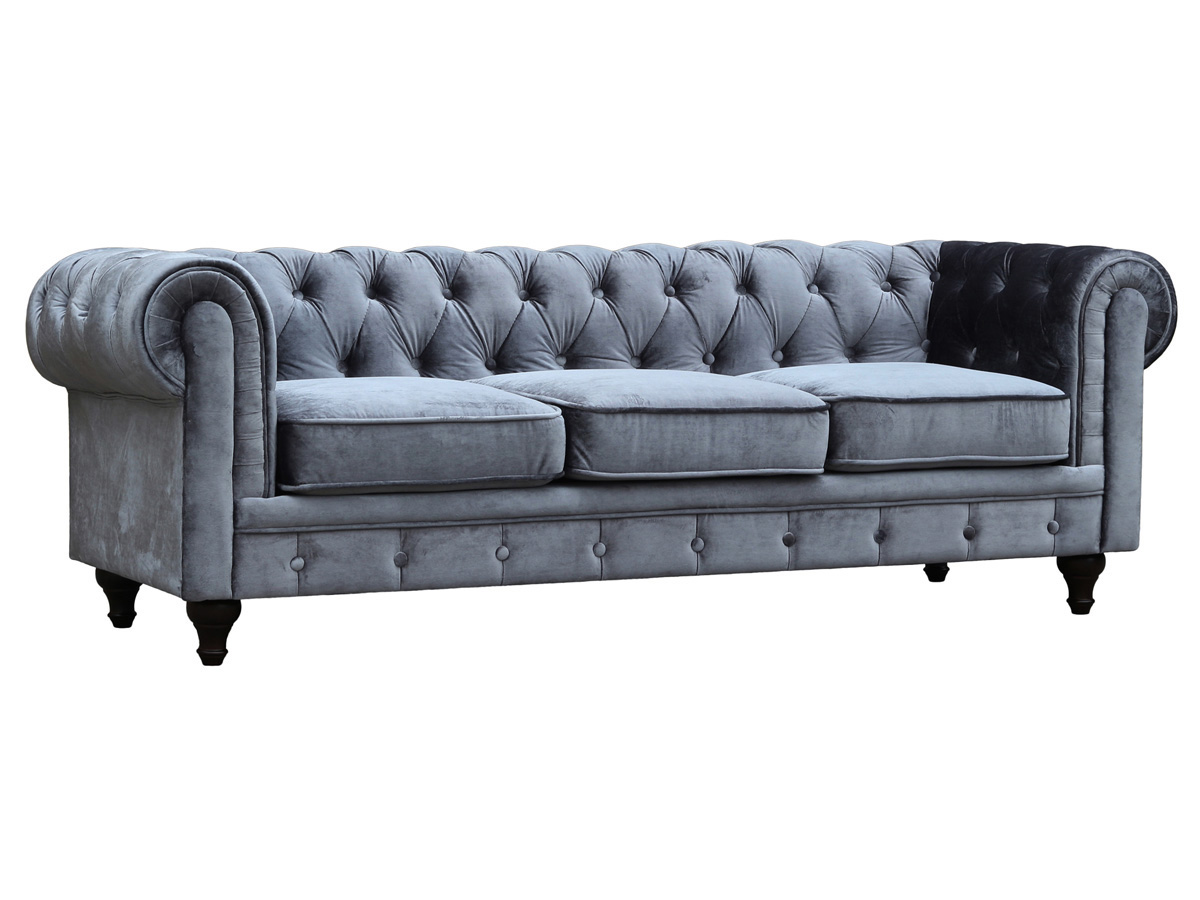 Canap fixe chesterfield velours aliza 3 places gris 80462 80776 - Canape chesterfield tissu gris ...