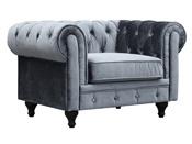 """Fauteuil Chesterfiel """"Aliza"""" - 111 x 82 x 70 cm - Velours gris"""