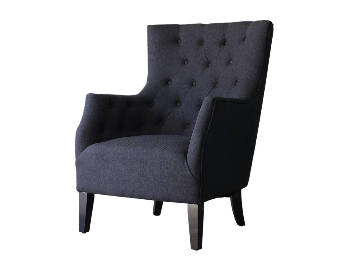 Fauteuil Scandinave Tissu Duchesse - Noir