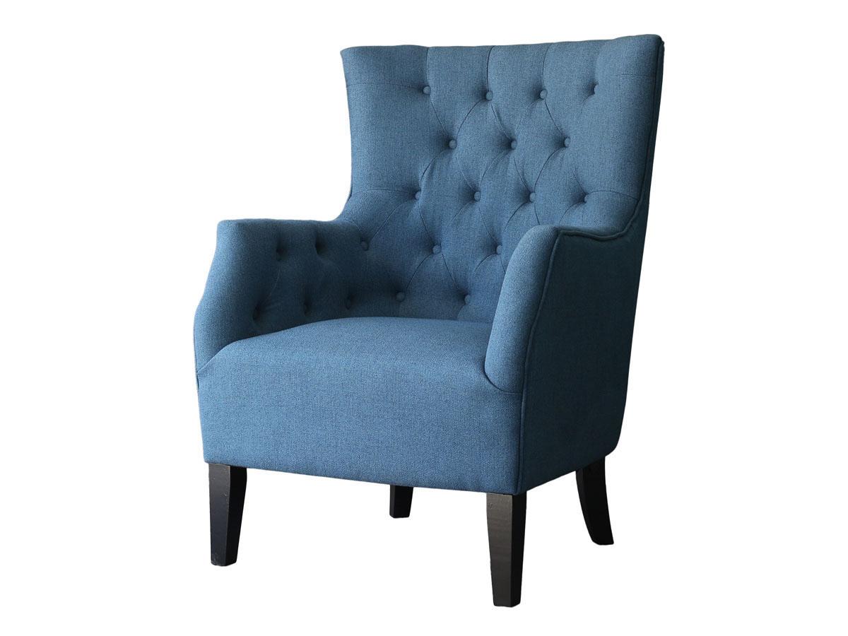 Fauteuil Scandinave Tissu Duchesse - Bleu roi