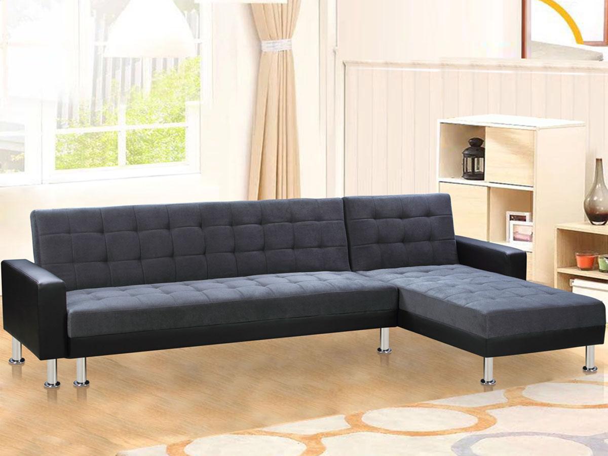 canap d 39 angle convertible theo noir et gris 5 places 78583 78598. Black Bedroom Furniture Sets. Home Design Ideas