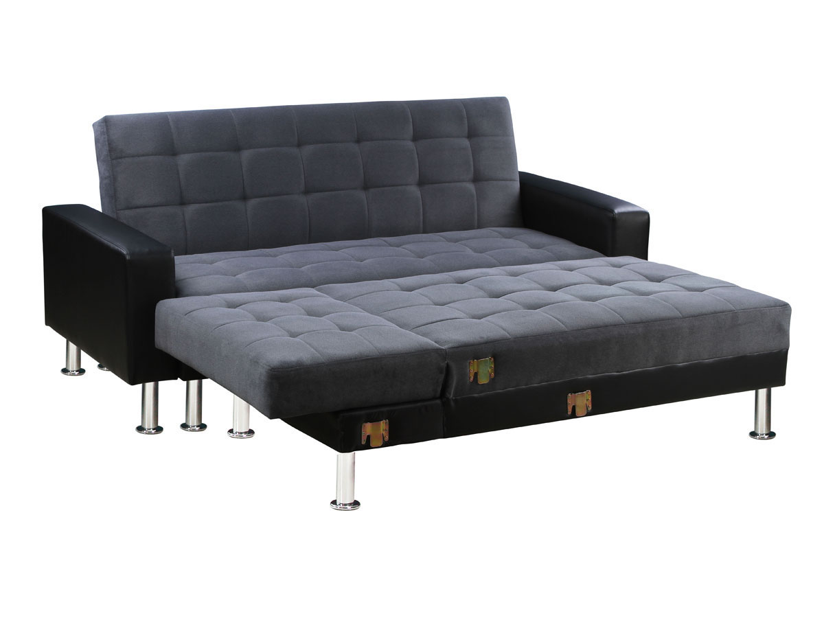 canap d 39 angle convertible theo noir et gris 4 places ebay. Black Bedroom Furniture Sets. Home Design Ideas