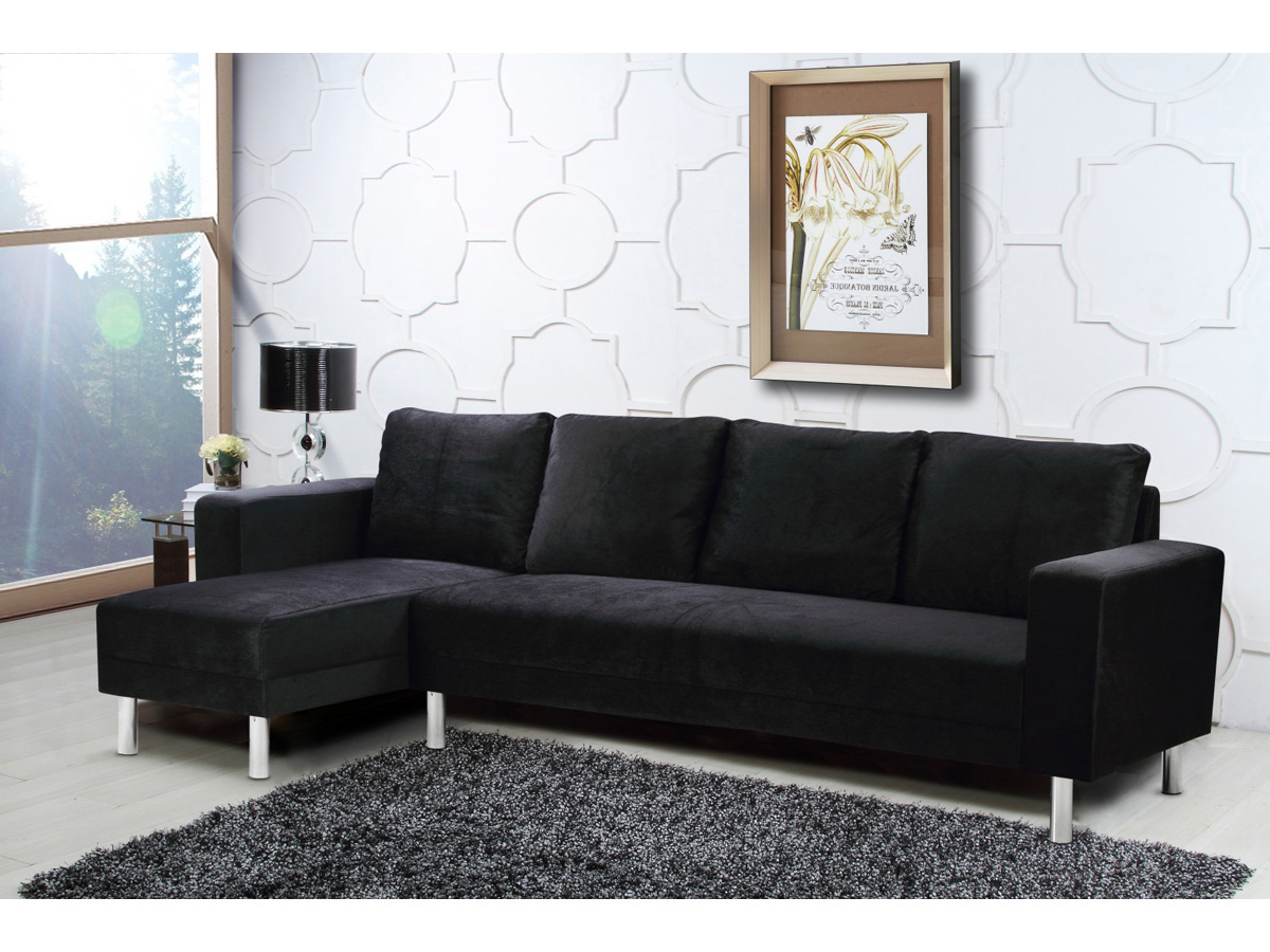 canap d 39 angle tissu r versible rio 5 places noir. Black Bedroom Furniture Sets. Home Design Ideas