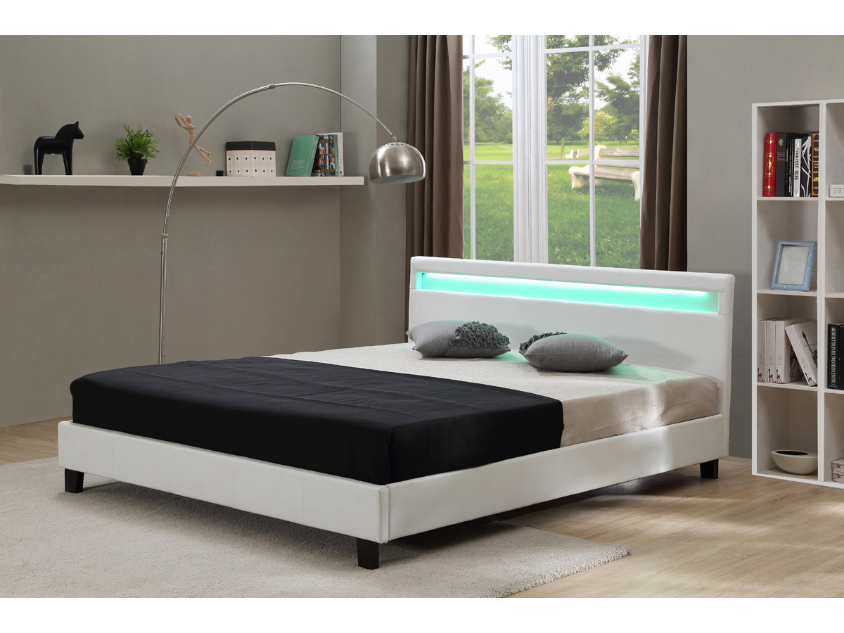 lit led maria 140 x 190 cm blanc 70014 78833. Black Bedroom Furniture Sets. Home Design Ideas