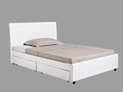 "Lit ""Mila"" - Blanc - 2 Tiroirs - 140 x 190 cm"