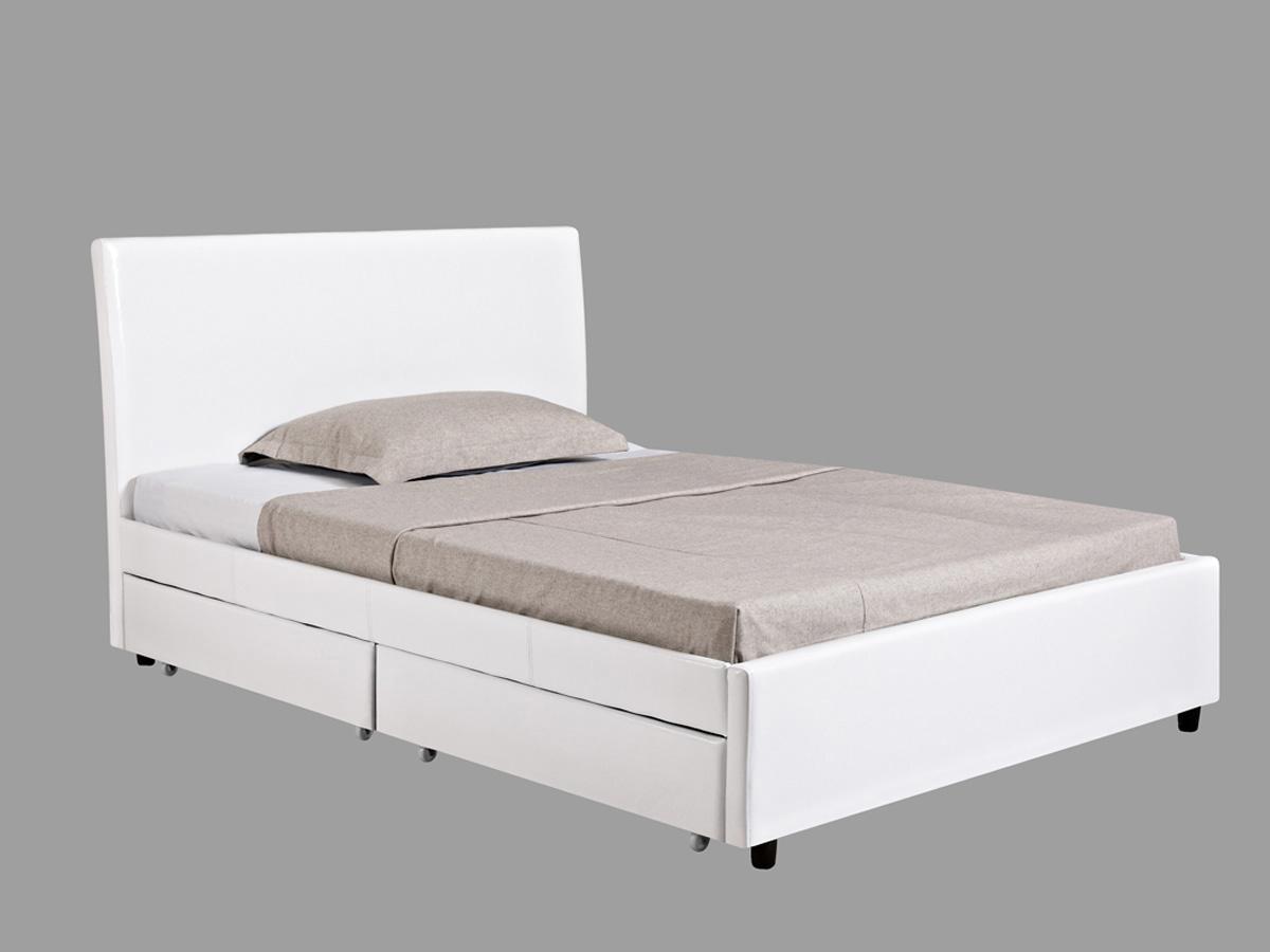 Lit Mila - Blanc - 4 Tiroirs - 140 x 190 cm
