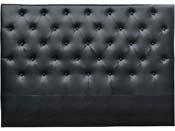 """Tête de lit capitonnée 140 cm """"Déco"""" en PVC - Noir"""