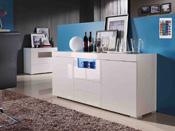 """Buffet """"Flora"""" MDF laqué blanc avec led - 2 portes et 3 tiroirs"""