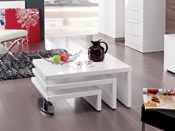 TABLE BASSE DESIGN ELYSA EN MDF LAQUE BLANC - 80 X