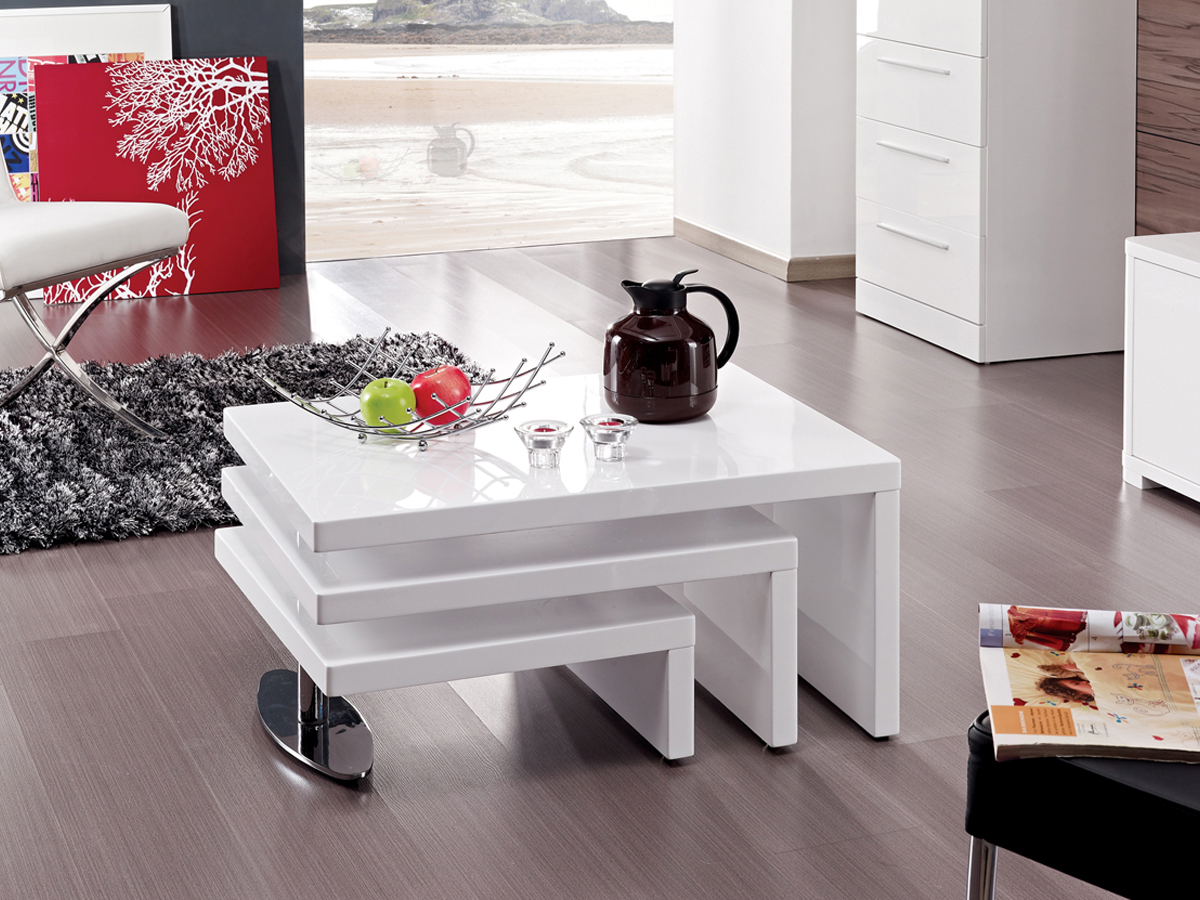 Table basse design elysa en mdf laqu blanc 80 x 59 x for Table basse laquee blanc pas cher