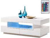 """Table basse """"Mia"""" - 120 x 60 x 44 cm  - Blanc laqué"""